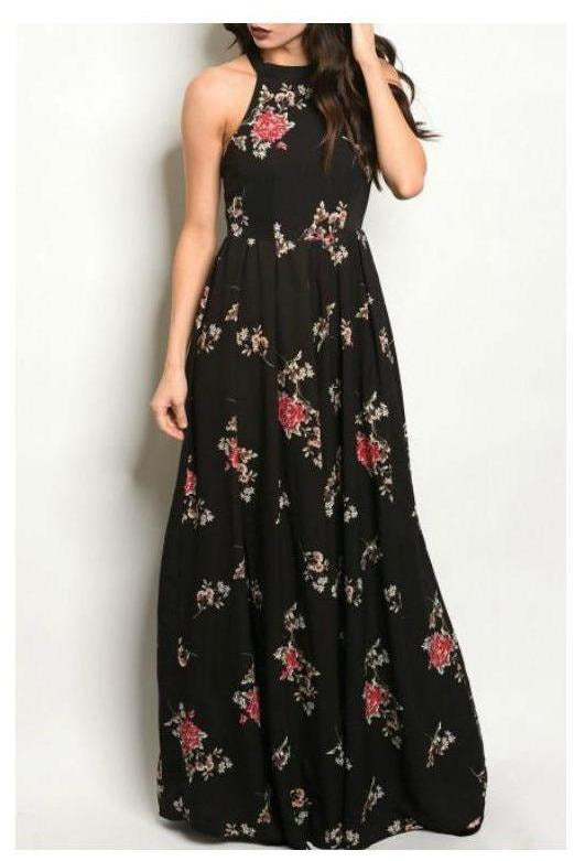 Black Floral Maxi Dress W/ High Neckline