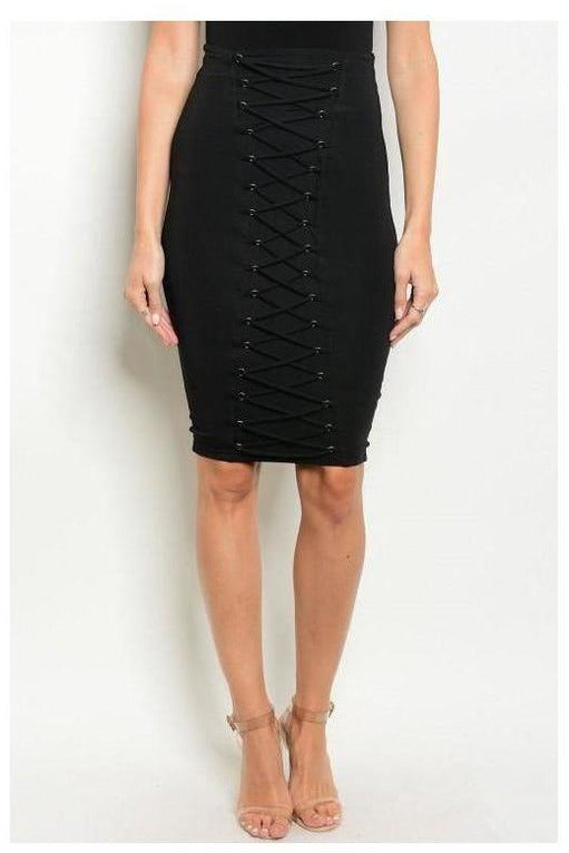 Criss Cross Bodycon Skirt, Black