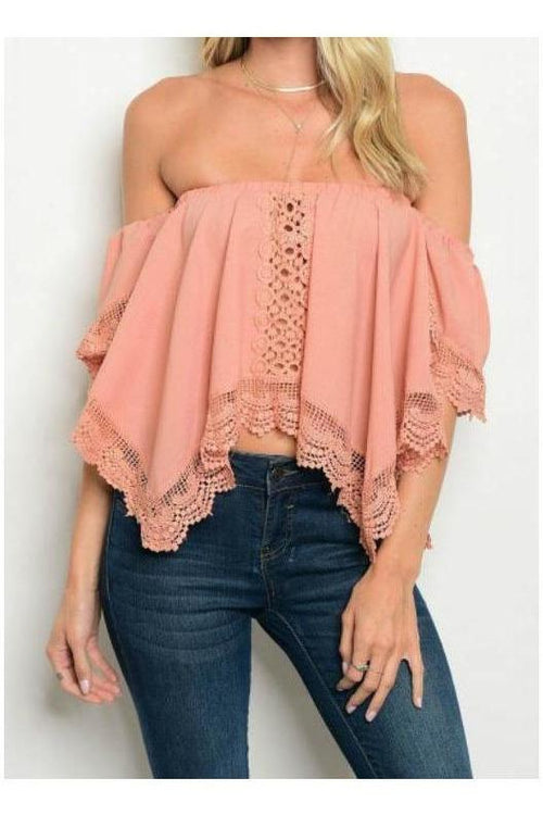 Blush Crochet Off Shoulder Crop Top