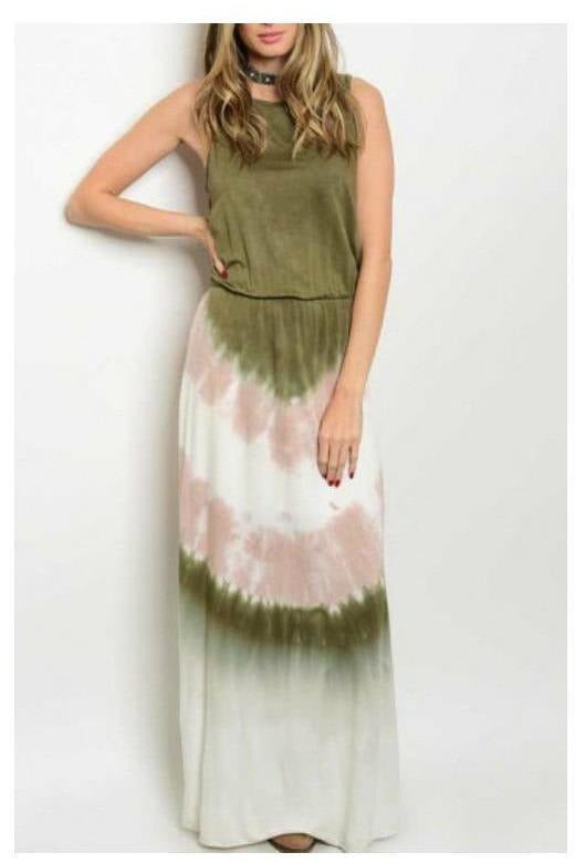 Boho Vibes, Tie-Dye Maxi Dress, Sage