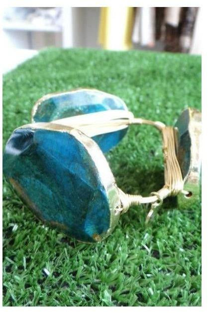 Bourbon and Boweties Classic Large Stone Bangle: Deep Blue Sea - RMC Boutique