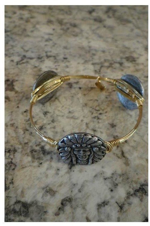 Bourbon And Boweties: Classic Collection: Pewter Indian Head Bangle - RMC Boutique