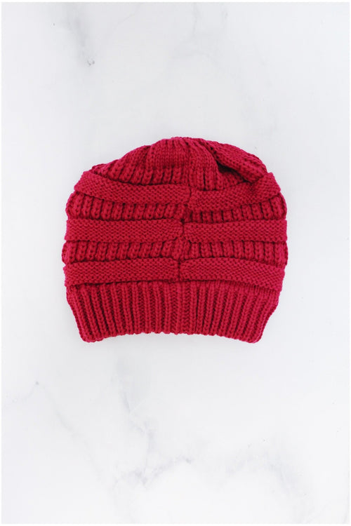 Messy Bun Knitted Beanie - RMC Boutique