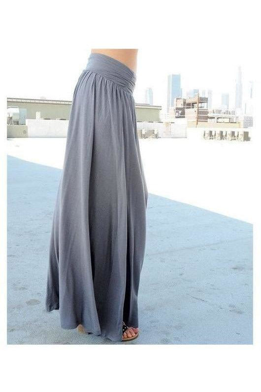 Solid Flare Maxi Skirt - GRAY - RMC Boutique