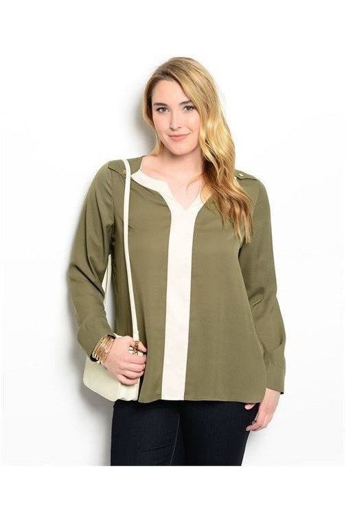 Olive and Ivory Blouse - RMC Boutique