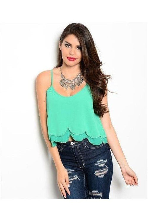 Double Layer Scallop Trim Crop Top - GREEN - RMC Boutique