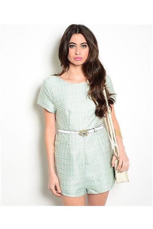 """West Palm Princess "" Mint Jacquard Romper - RMC Boutique"