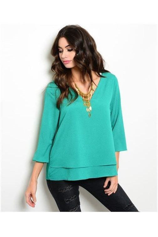 Lets Smile At The World Green Top - RMC Boutique