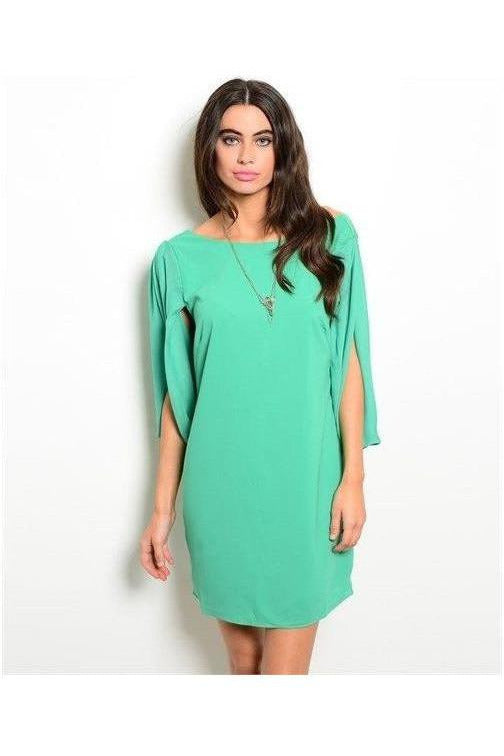 Lucky You Green Cape Sleeve Dress - RMC Boutique