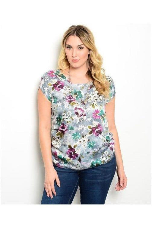 Perfect in Plum Short Sleeve Floral Top - RMC Boutique
