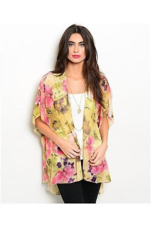 Morning Sunshine, Yellow Floral Kimono - RMC Boutique