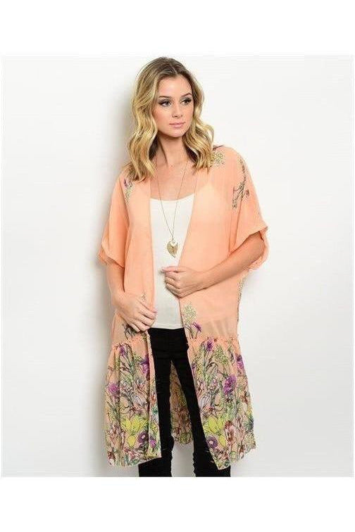 Sweet As A Peach Floral Kimono - RMC Boutique