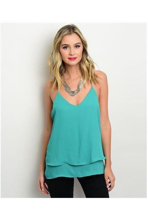 Sexy Double Hem Top Green - RMC Boutique