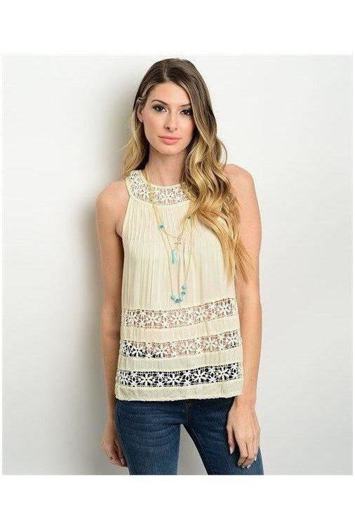 Peek A Boo Eyelet Top, Off White - RMC Boutique  - 1