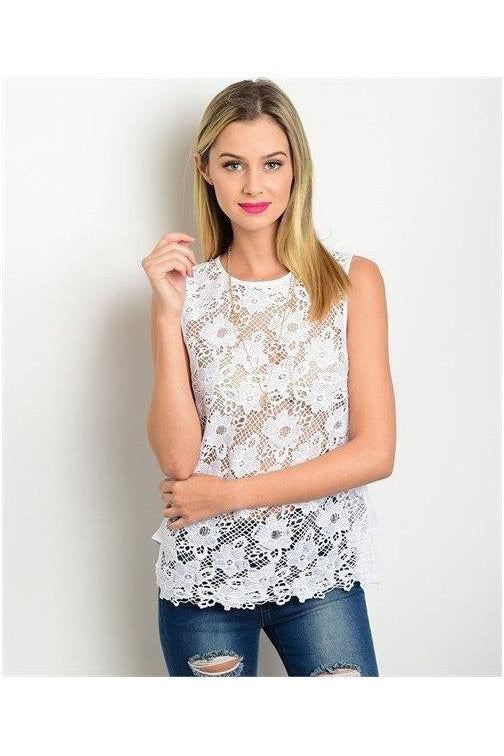 Soft and Sassy Lace Top, White - RMC Boutique