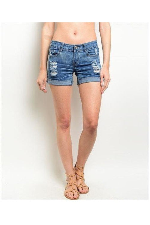 Light Color Distressed Denim Shorts - RMC Boutique