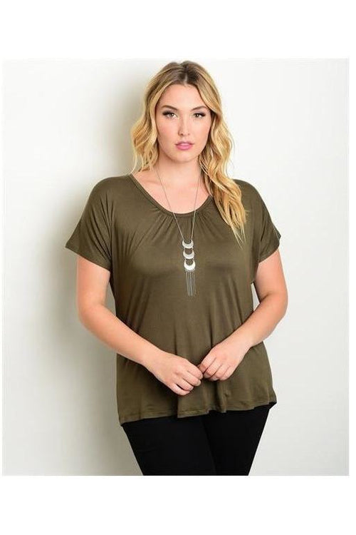 Keepin' it Casual, Plus Size Tee, Olive - RMC Boutique