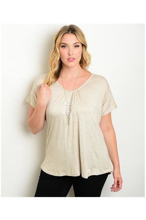Keepin' it Casual, Plus Size Tee, Tan - RMC Boutique