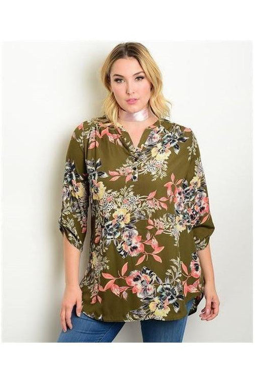 Olive Botanical Tunic Top - RMC Boutique