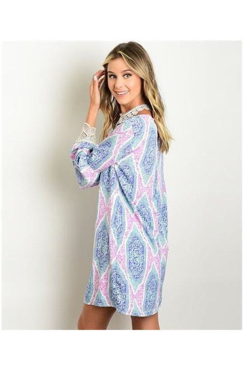 """You Brighten My Day"" Bell Sleeve Shift Dress - RMC Boutique"