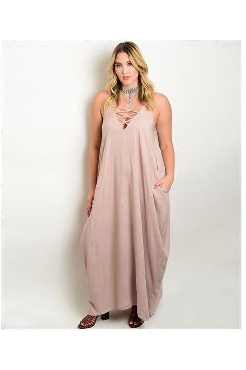 """Kiss of Mocha"" Lace Up Front Maxi Dress - RMC Boutique"