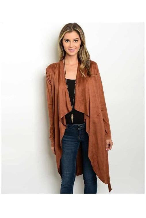Rust Brown Faux Suede Cardigan - RMC Boutique