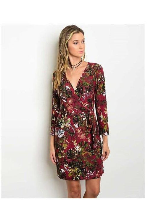 Botanical Leaves Wine Wrap Dress - RMC Boutique
