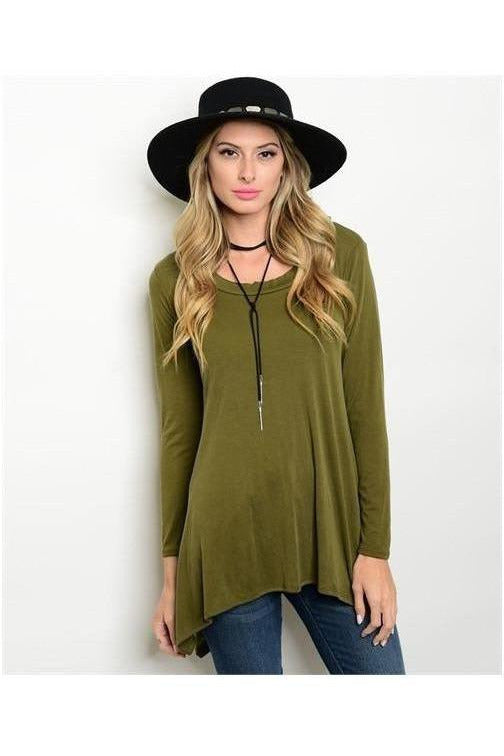 Scoop Neck Tunic Top, Olive - RMC Boutique
