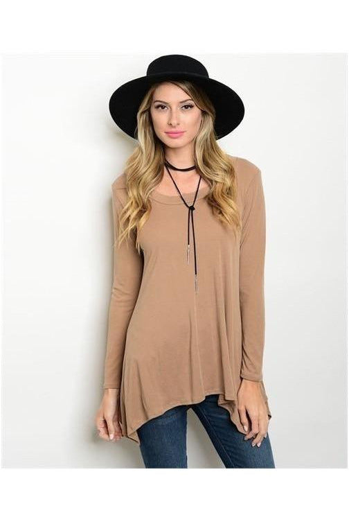 Scoop Neck Tunic Top, Taupe - RMC Boutique