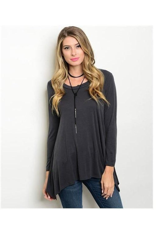 Scoop Neck Tunic Top, Gray - RMC Boutique