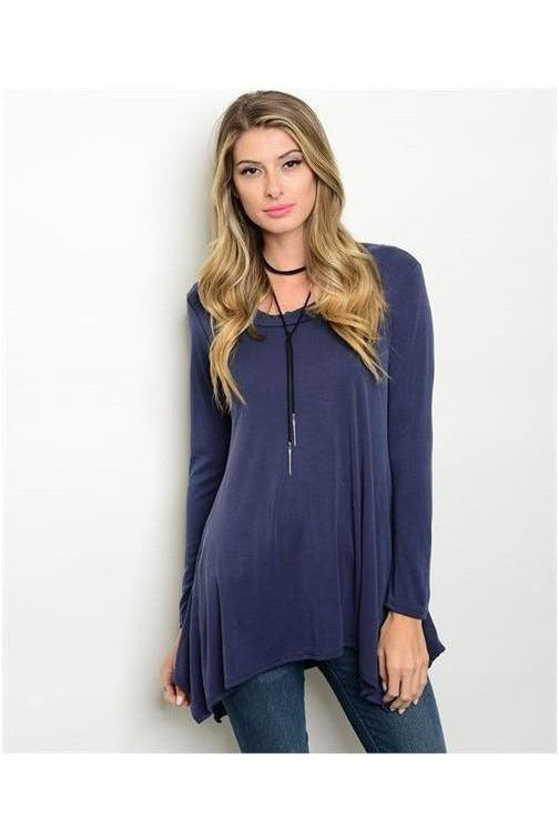 Scoop Neck Tunic Top, Blue - RMC Boutique