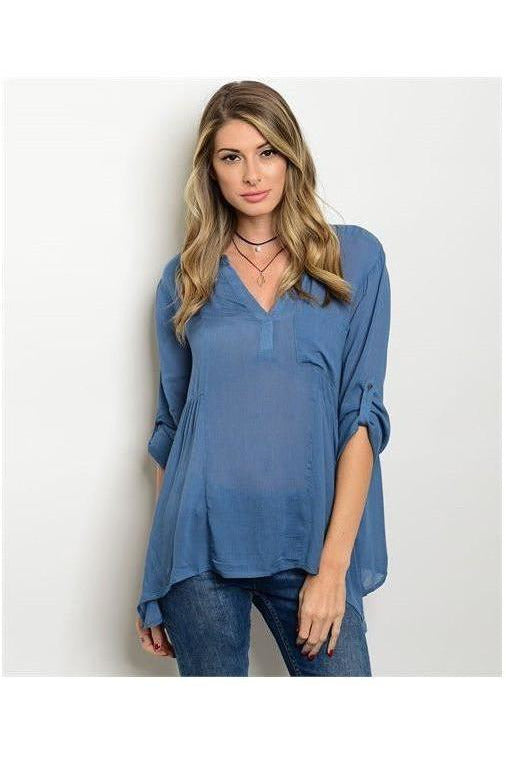 Dusty Blue Tunic Blouse - RMC Boutique  - 1