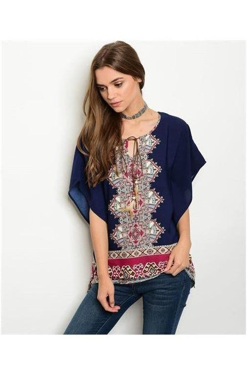 Tribal Legacy Top, Blue - RMC Boutique  - 1
