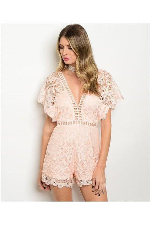Only The Best Peach Lace Romper - RMC Boutique  - 1