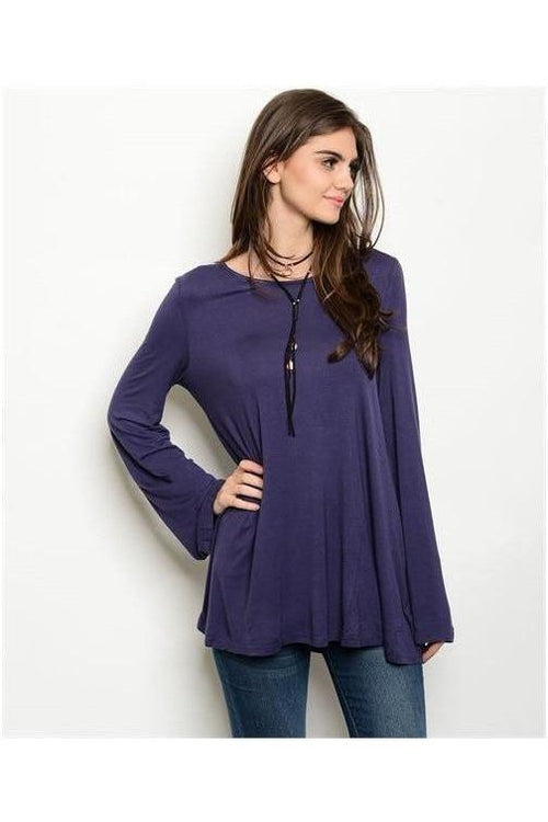 Criss Cross Bell Sleeve Top, Blue - RMC Boutique  - 1
