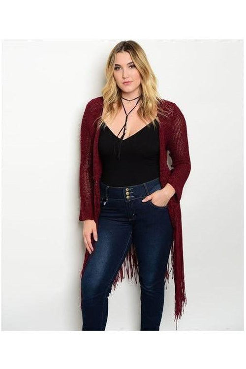 Crochet Fringe Cardigan, Wine - RMC Boutique  - 1
