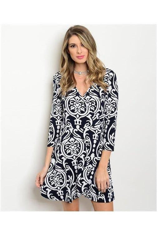 Damask Print Navy Blue Wrap Dress - RMC Boutique  - 1