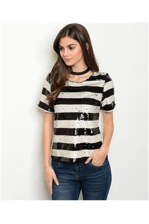 Sparkle and Shine Striped Sequin Top - RMC Boutique  - 1