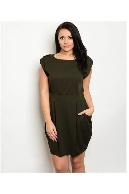 Fitted Cap Sleeve Dress, Plus Size, Olive - RMC Boutique  - 1