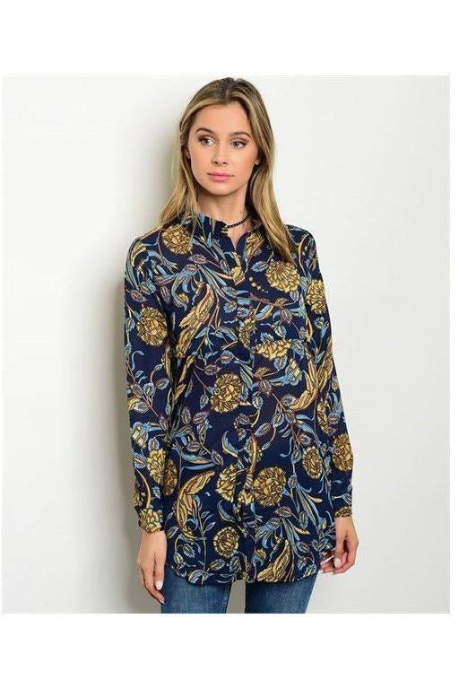 Golden Foliage Tunic Top - RMC Boutique  - 1