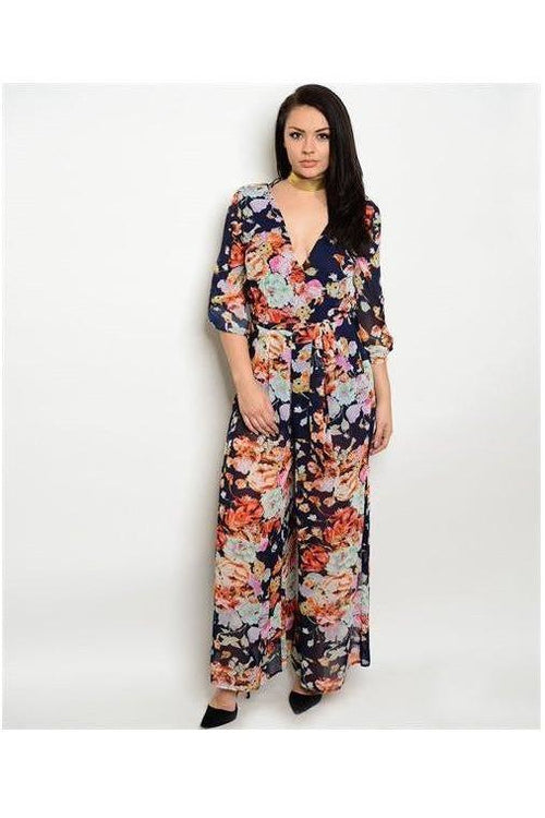 Fashionably Floral Jumpsuit, Navy, Plus Size - RMC Boutique  - 1