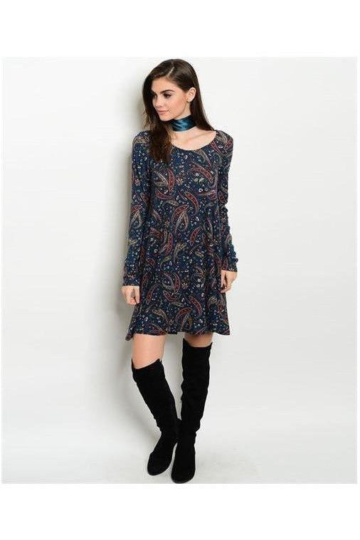 Midnight Blue Paisley Dress - RMC Boutique  - 1