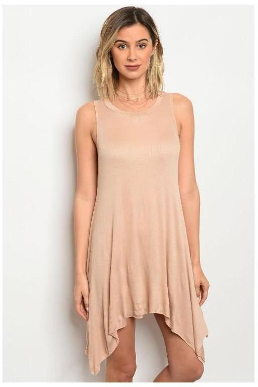 Scoop Neck Sleeveless Ribbed Tunic Dress, Tan