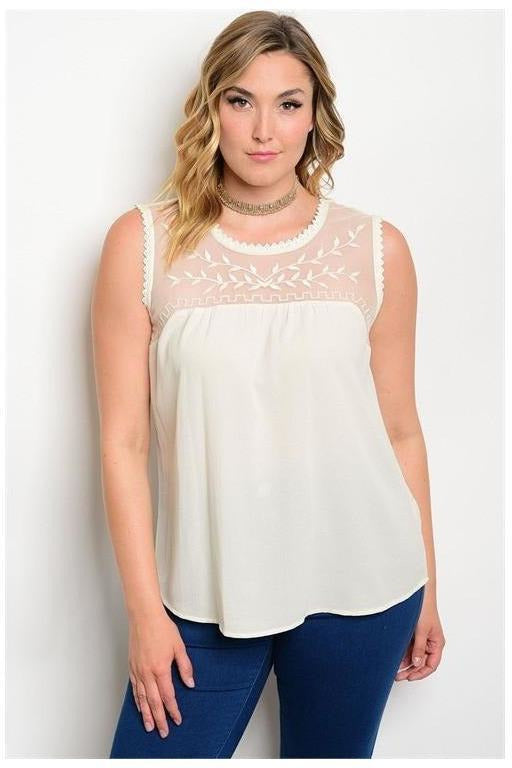 Leighton  Embroidered Top, Ivory