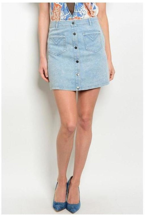 Wind Down Button Down Denim Skirt