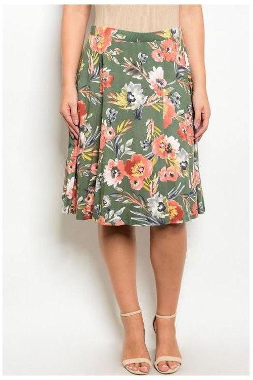 Floral A Line Skirt, Plus Size