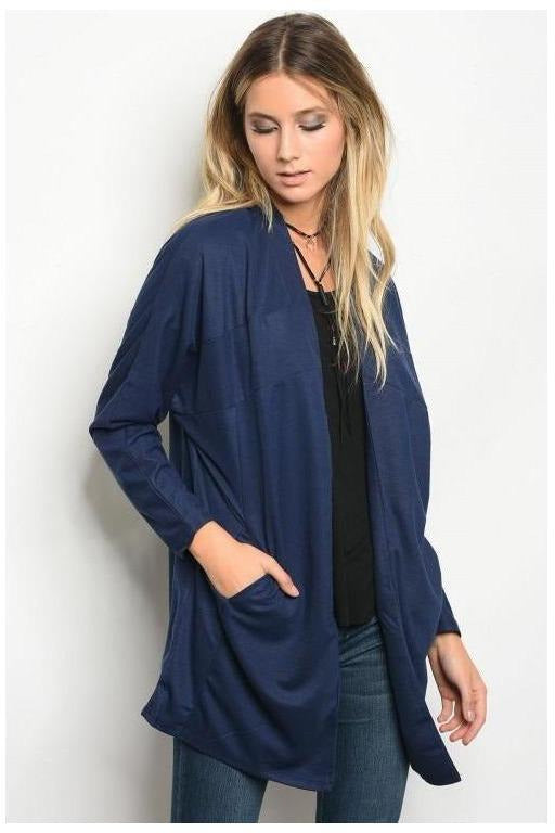 Peacock Blue Side Pocket Cardigan