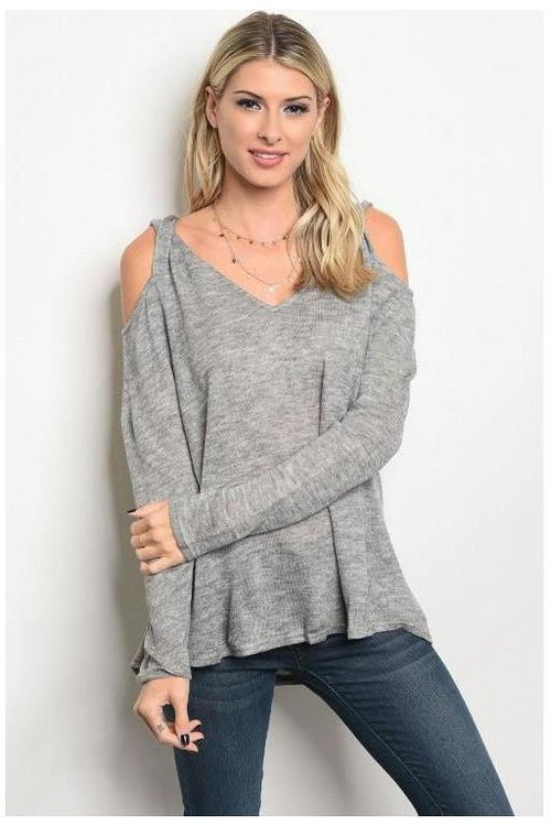 Light Weight Cold Shoulder Twist Sweater