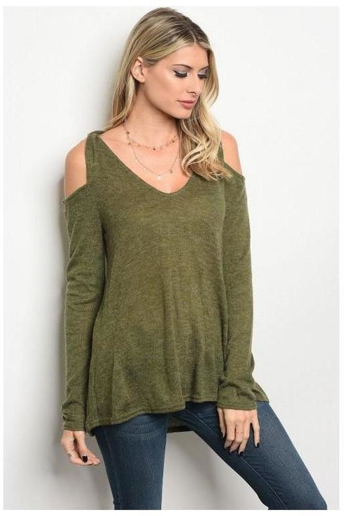Cold Shoulder Twist, Long Sleeve Top