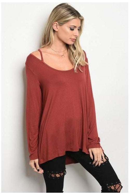 Criss Cross Long Sleeve Jersey Tunic Top